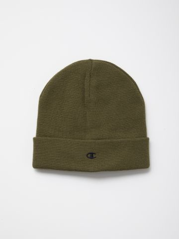 כובע גרב סרוג עם רקמת לוגו