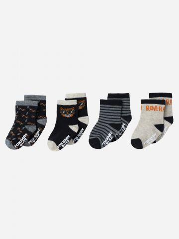 מארז 4 זוגות גרביים גבוהים בצבעים שונים / 0-3Y