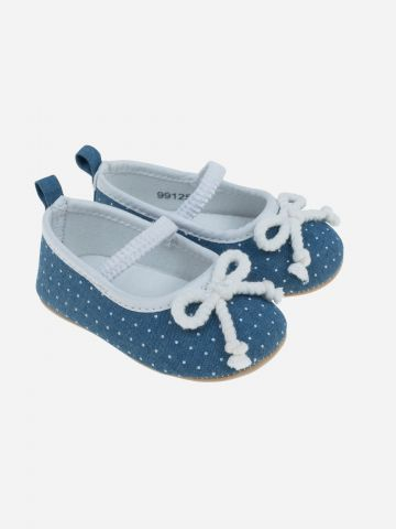 נעלי בובה עם עיטור פפיון / בייבי בנות
