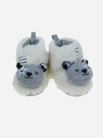 נעלי בית דמוי פרווה עם דובי / בייבי