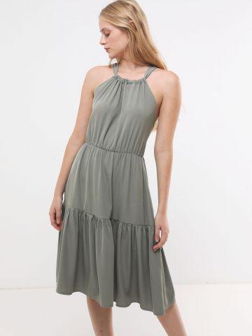שמלת קומות מידי עם כתפיות איקס בגב