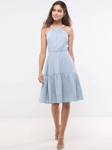 שמלת מידי קומות עם קשירה בגב