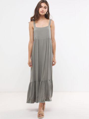 שמלת מקסי קומות עם רקמה בסיומת