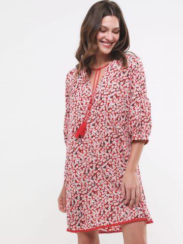 שמלת מיני בהדפס פרחים עם קשירה