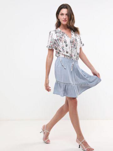 חצאית מיני עם עיטור רקמה