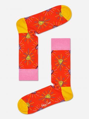 גרביים גבוהים בהדפס יהלומים  / נשים