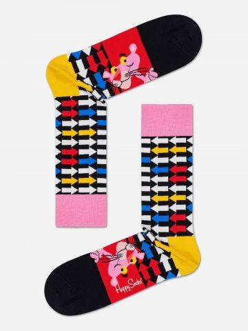 גרביים גבוהים בהדפס הפנתר הורוד / נשים