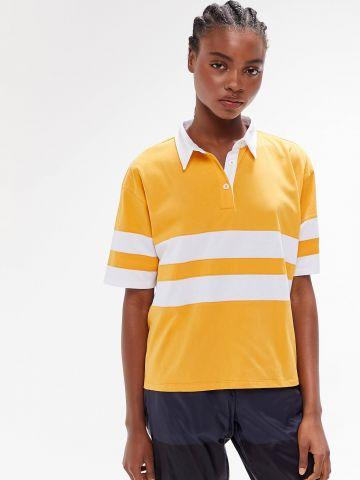 חולצת פולו אוברסייז עם הדפס פסים TRULY MADLY DEEPLY
