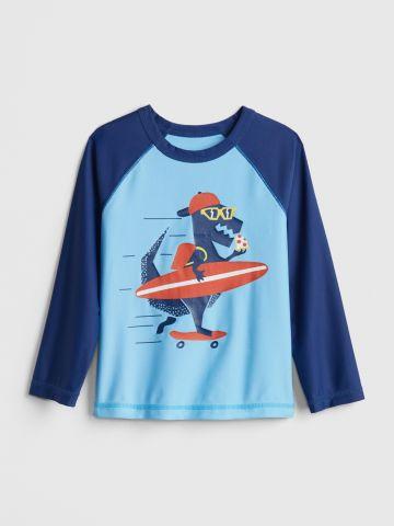 חולצת גלישה עם הדפס דינוזאור / 12M-5Y