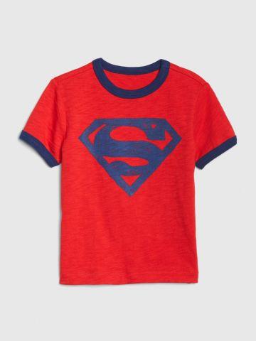 טי שירט רינגר עם הדפס סופרמן / 12M-5Y