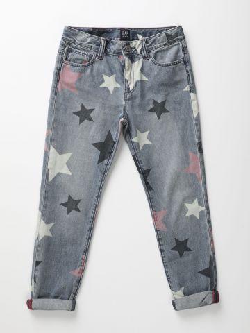 ג'ינס ישר בהדפס כוכבים / בנות