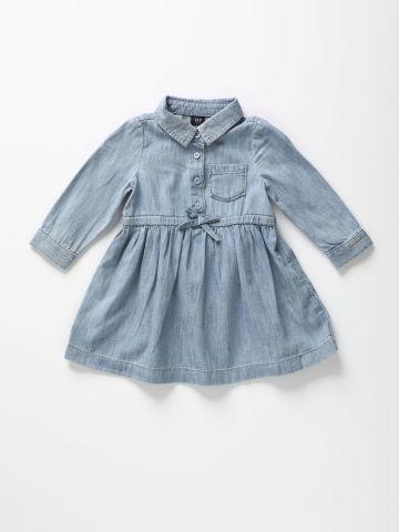 שמלת ג'ינס עם כפתורים ופפיון / 12M-5Y