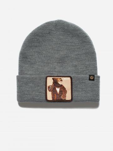 כובע גרב עם פאץ' דוב
