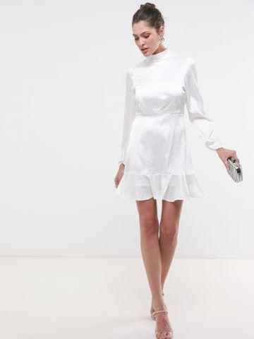 שמלת סאטן פפלום בהדפס חברבורות