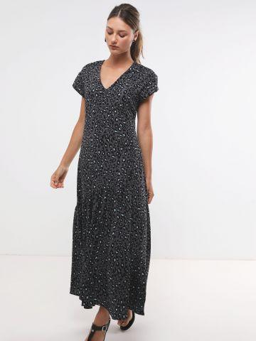 שמלת מקסי קומות בהדפס חברבורות
