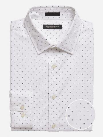 חולצה מכופתרת סלים בהדפס נקודות / גברים