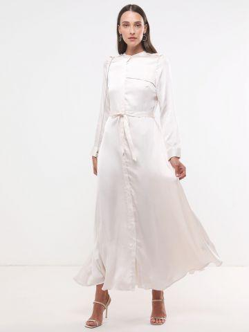 שמלת סאטן מקסי מכופתרת