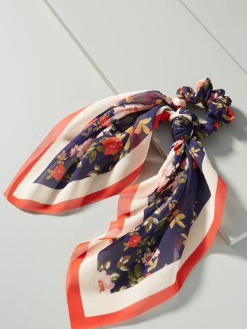 גומיית צעיף לשיער בהדפס פרחים