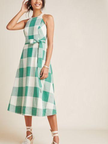 שמלת מידי בהדפס משבצות