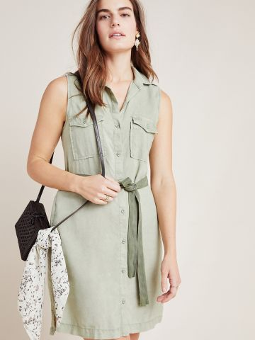 שמלת מיני מכופתרת עם חגורת קשירה Cloth & Stone