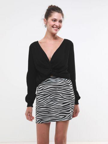 חצאית מיני סאטן בהדפס זברה