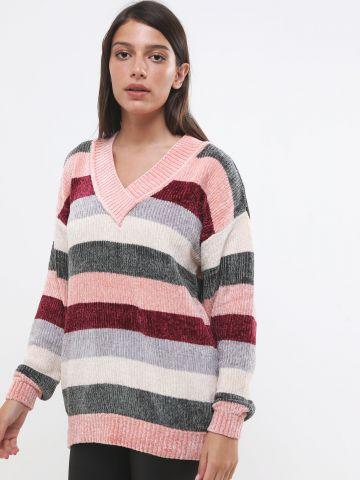 סוודר שניל בהדפס פסים