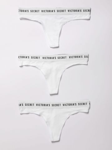 מארז 3 תחתוני חוטיני עם לוגו / נשים של Victoria's Secret