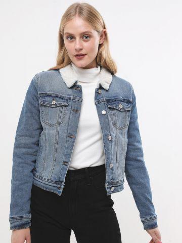 ג'קט ג'ינס עם בטנה דמוי צמר