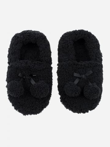 נעלי בית פרוותיות עם עיטורי פונפונים / נשים
