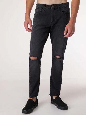 ג'ינס בגזרה ישרה עם קרעים 4 Way Destroyed