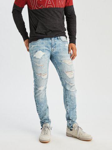 ג'ינס סקיני אסיד ווש עם קרעים