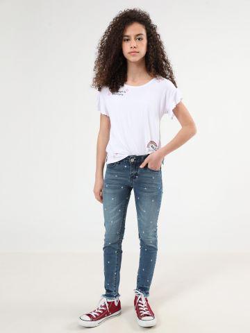ג'ינס בהדפס כוכבים עם סיומת פרומה