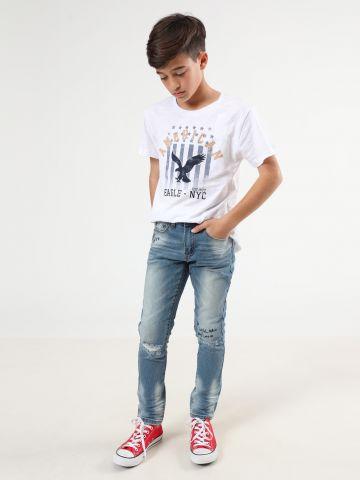 ג'ינס סקיני ווש עם קרעים ועיטורי רקמה