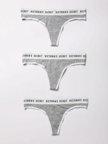 מארז 3 תחתוני חוטיני שני צבעים עם לוגו / נשים
