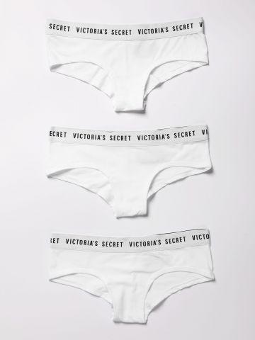 מארז 3 תחתוני צ'יקי שני צבעים עם לוגו / נשים של Victoria's Secret