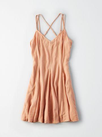 שמלת מיני בהדפס נקודות עם כתפיות כפולות / נשים