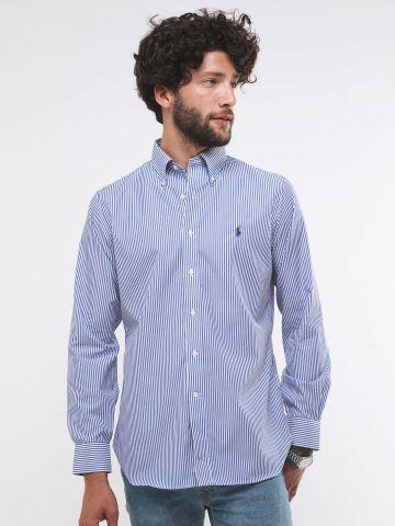 חולצה מכופתרת בהדפס פסים עם לוגו Classic Fit