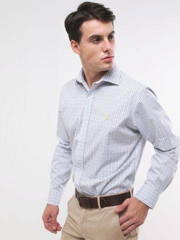 חולצה מכופתרת בהדפס משבצות עם רקמת לוגו Classic Fit