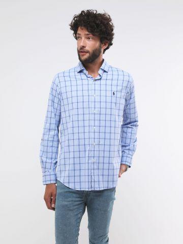 חולצה מכופתרת בהדפס משבצות עם לוגו Classic Fit