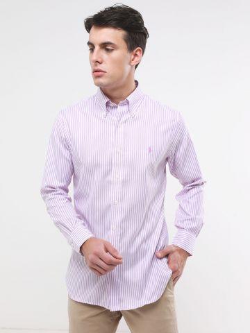 חולצה מכופתרת בהדפס פסים עם לוגו Slim fit