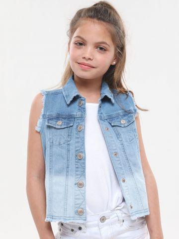 וסט ג'ינס אומברה עם שוליים פרומים