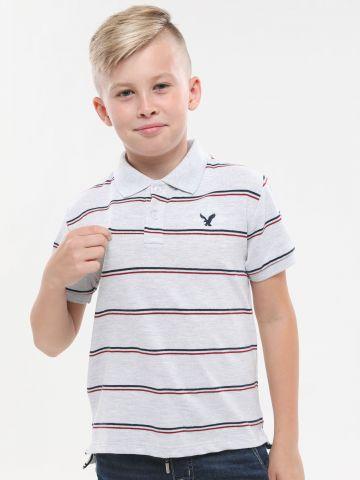 חולצת פולו בהדפס פסים עם לוגו