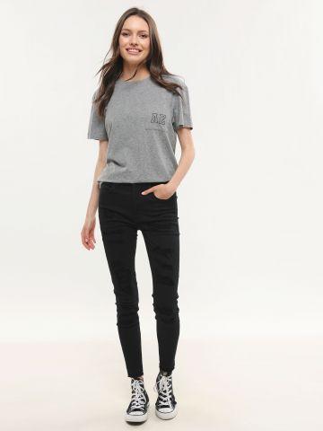 ג'ינס סקיני בגזרה גבוהה עם קרעים High Rise Jegging