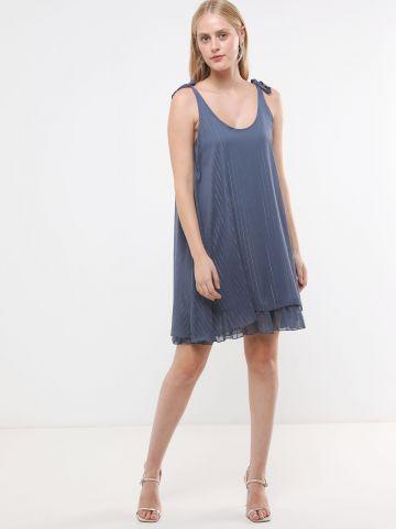שמלת שיפון לורקס מיני עם כתפיות קשירה