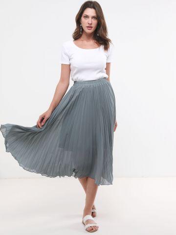 חצאית פליסה מידי עם גומי במותן