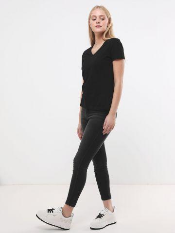 ג'ינס סקיני עם סטריפ נצנצים High Rise Jegging