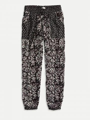 מכנסי קטיפה בהדפס פרחים ונקודות / נשים