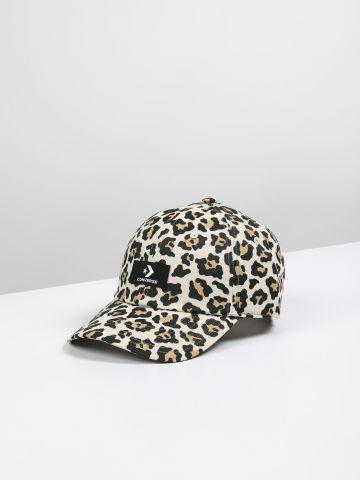 כובע מצחייה בהדפס מנומר עם לוגו