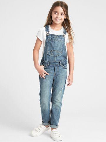 אוברול ג'ינס ארוך עם עיטורי קרעים / בנות