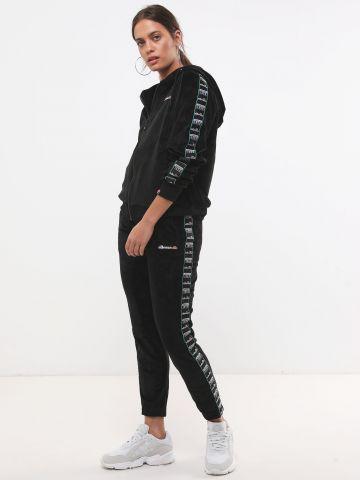 מכנסי טרנינג קטיפה עם סטריפים לוגו של ELLESSE
